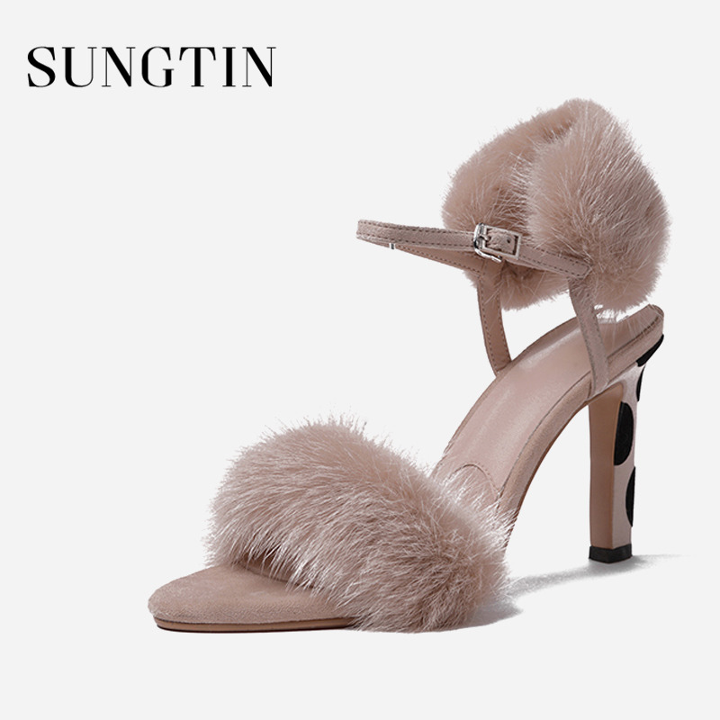 Sungtin Sexy Fur Ankle Strap Sandals Women Stilettos Party Shoes Fashion  Classic Leopard High Heels Summer Ladies Heeled Sandals-in High Heels from  Shoes on ... 3b0e3d6974cd