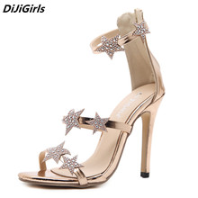 2018 new style roman sandals women gold 3 bands Star Rhinestone high heels sandal  woman summer eb84a39b9ec5