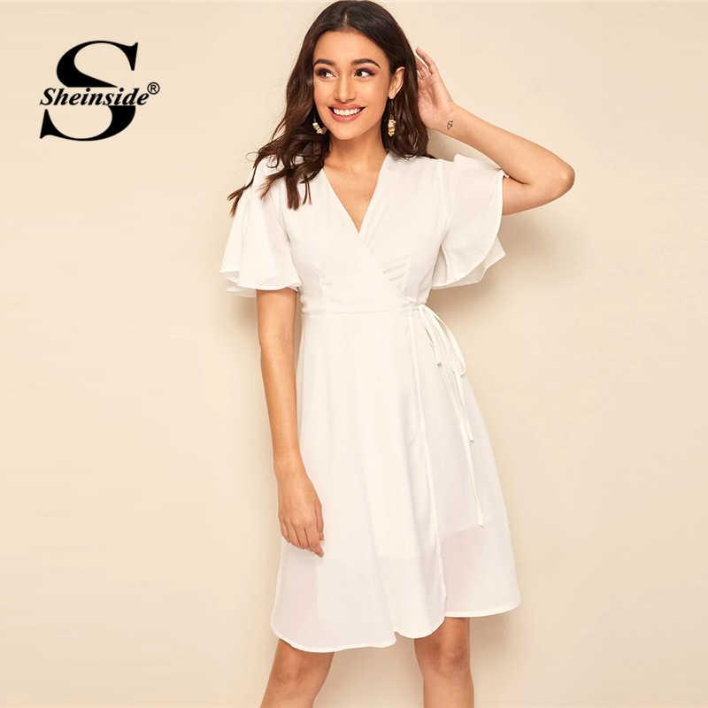 Sheinside, Повседневное платье с v-образным вырезом и оборками, рукав-волан, женское платье 2019, летнее платье миди с плотным поясом