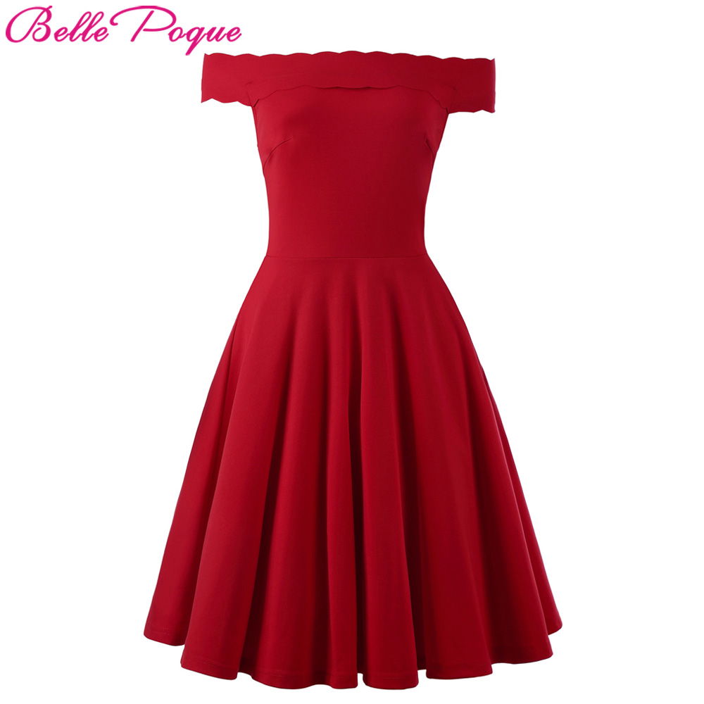 0e27ad20634 Belle Poque Robe Femme Sexy Women Romantic Rockabilly Swing Clothing Red  Off Shoulder Summer 50s 60s