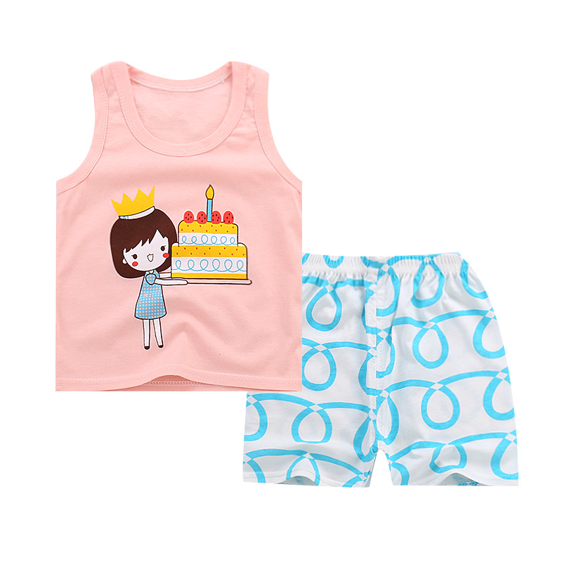 New Baby Girls Clothes Sets summer cute Cartoon vest Tops+ Pants 2PCS baby Clothes Sets fashion cotton newborn girls Outfits