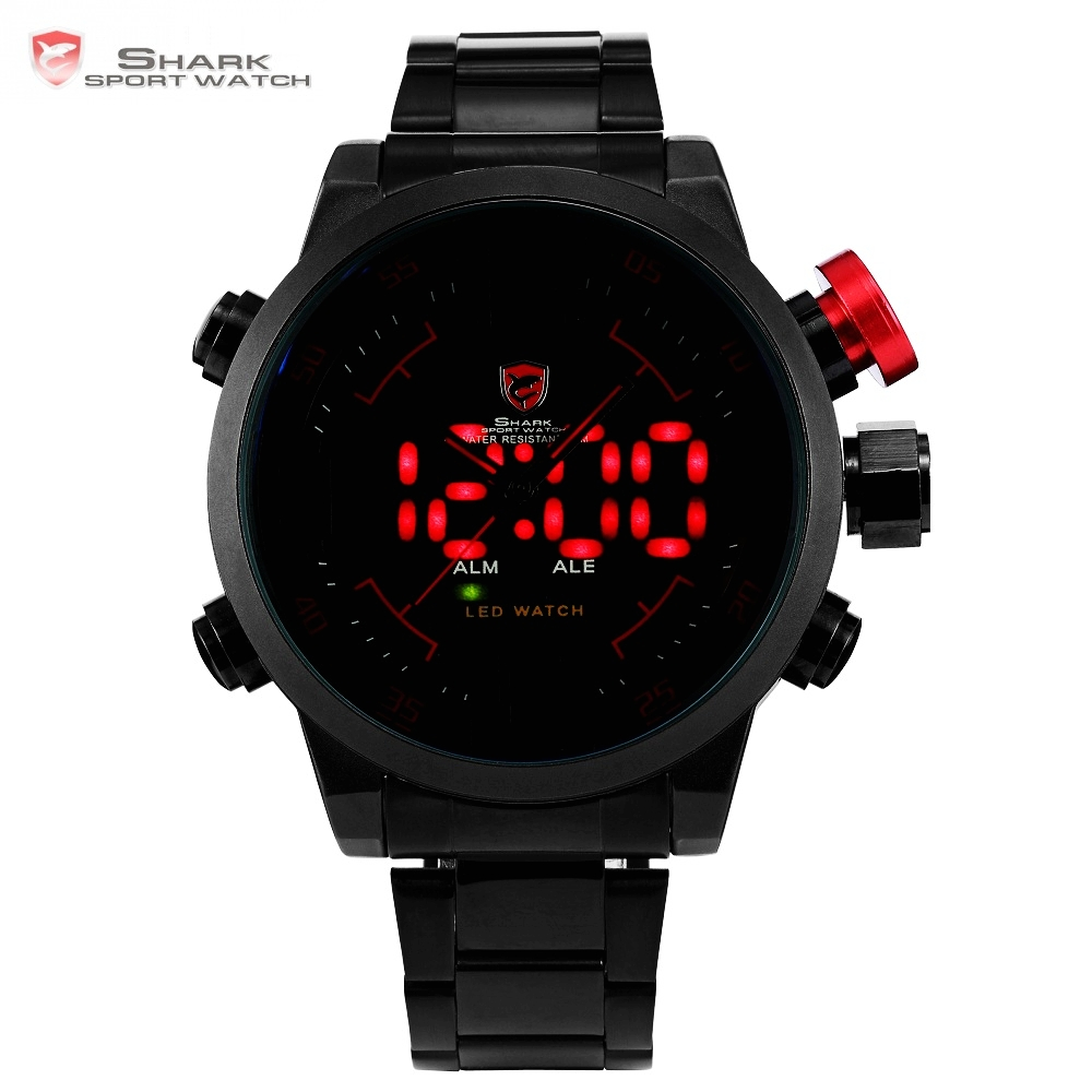 SHARK Analog Digital LED Stainless Full Steel Black Red Date Day Alarm Men S Sports Outdoor