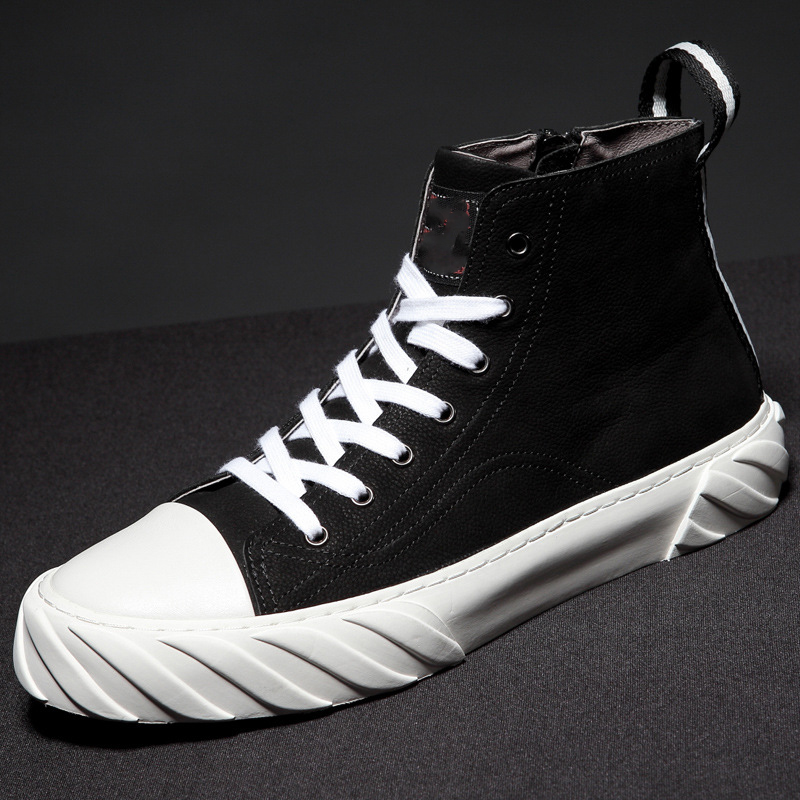 high top mens casual shoes designer shoes men high quality all match cowhide breathable sneaker fashion boots men Leisure shoes in Men 39 s Casual Shoes from Shoes