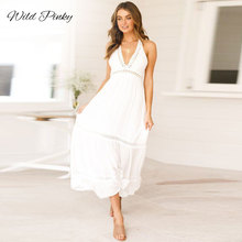 WildPinky Boho White Summer Dresses Sexy Women V-neck Sleeveless Long Beach Dress Backless Lace Patchwork Maxi Vestidos