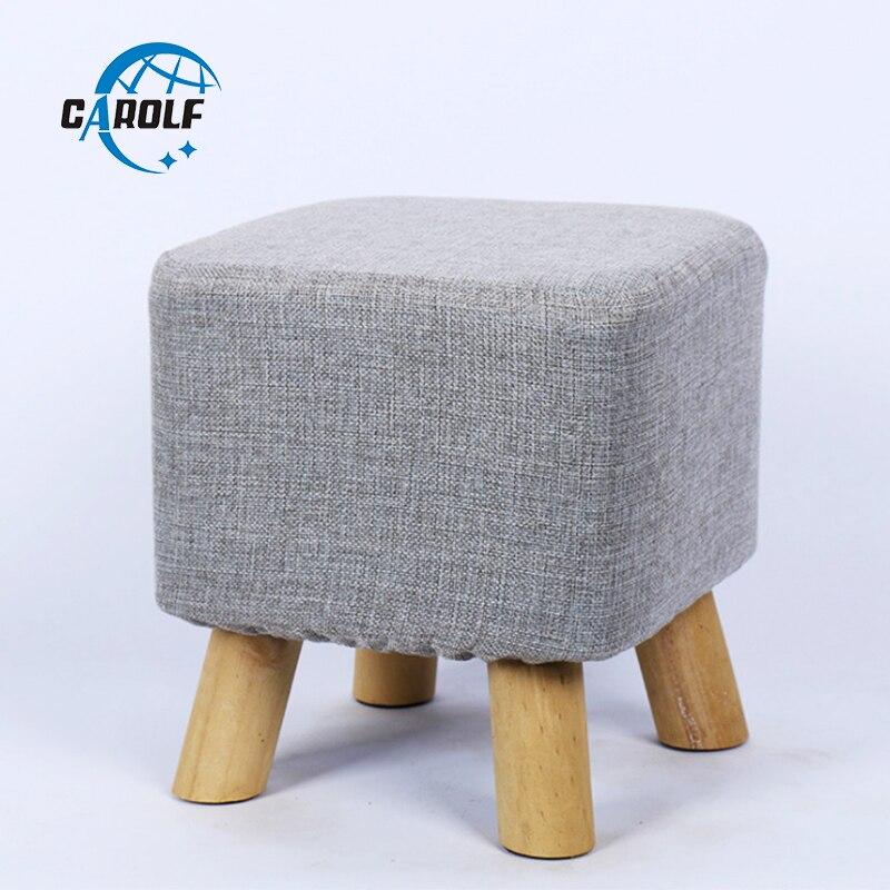 Livraison gratuite couleur unie carré bois tabourets lavables enfants tabouret maison meubles repose-pieds salle à manger plage Pouf Pouf