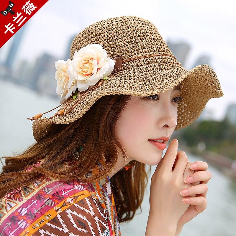 New Raffia Straw Hat Large Brim Flower Beach Sun Cap Women Floppy Wide Brim Travel Hat Female Sun-shading Straw Sun Hat B-7984