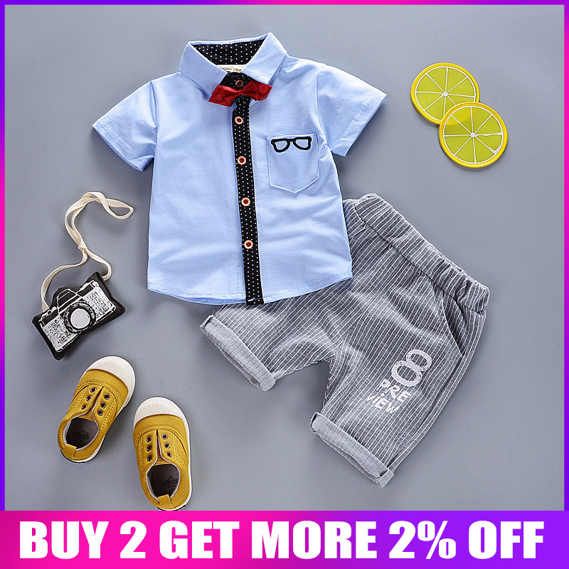 5801904f0a BibiCola Summer Baby Boys Clothes Suits Gentleman Style Kids Clothing Sets  T- Shirt+Pants