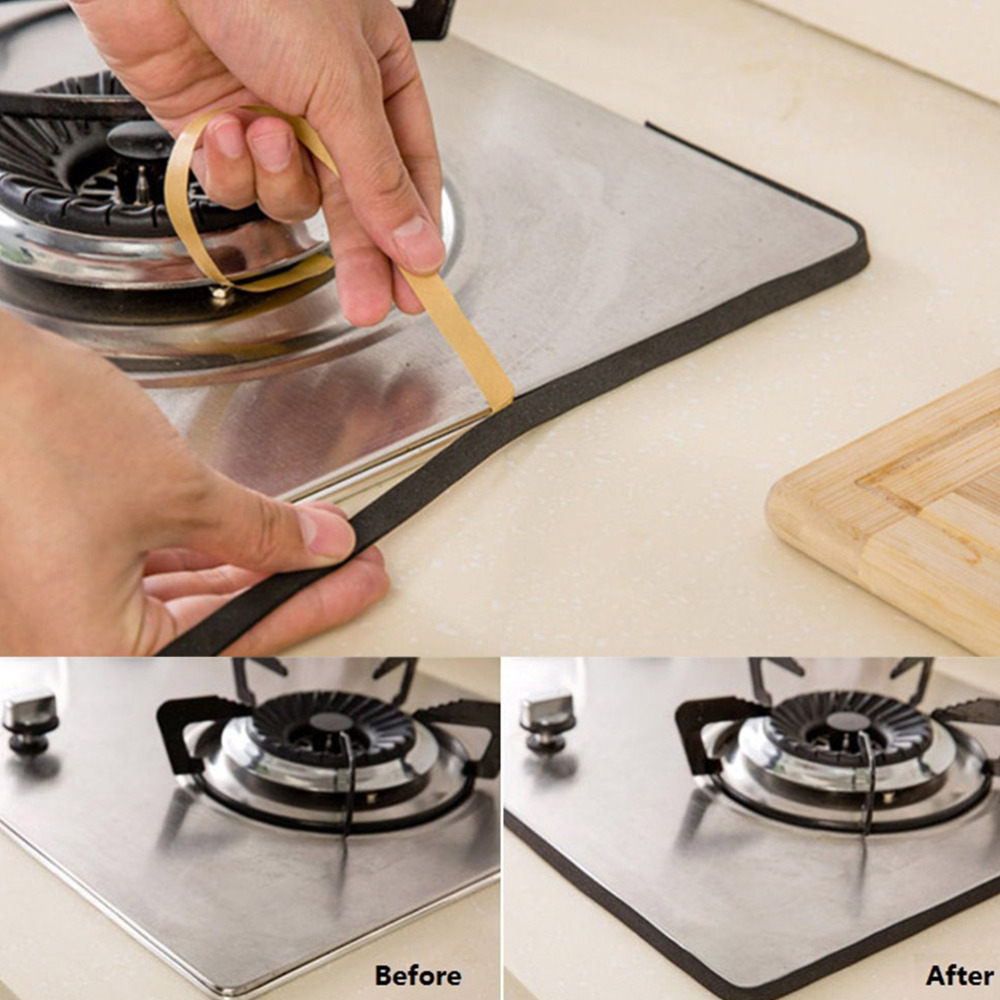 1PC Gas Stove Slit Strip Kitchen Self-adhesive Door Window Sealing Strip Antifouling Dustproof Waterproof Seal 2M
