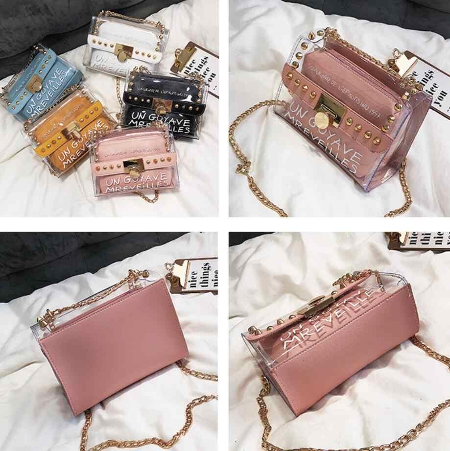 74a792c8f63d ... 2018 Summer Fashion New Handbag High quality PVC Transparent Women bag  Sweet Printed Letter Square Phone