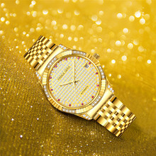 PRINCE GERA Luxury 18K Gold Diamonds Automatic Watch For Men Sapphire Glass Shining Mechanical Wristwatch