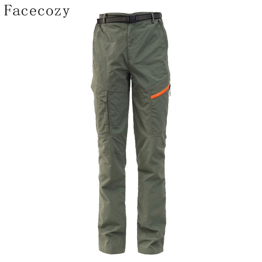 ФОТО Facecozy Men Summer Outdoor Hiking & camping Pants Female Quick Dry Climbing Breathable UV Hunting Pesca Trousers Pluse size