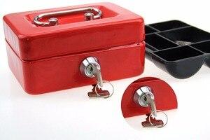 Image 2 - مصغر النثرية النقدية صندوق من الاستانلس ستيل قفل الأمان قابل للقفل معدن آمن صغير يصلح ل ديكورات منزلية 4.9*3.7*2.2 بوصة