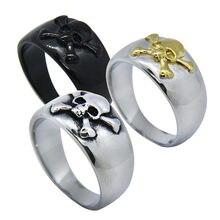 Offre livraison directe en acier inoxydable 316L or mode noir croix crâne anneau mauvais cul bijoux nouvelle bande crâne Biker anneau