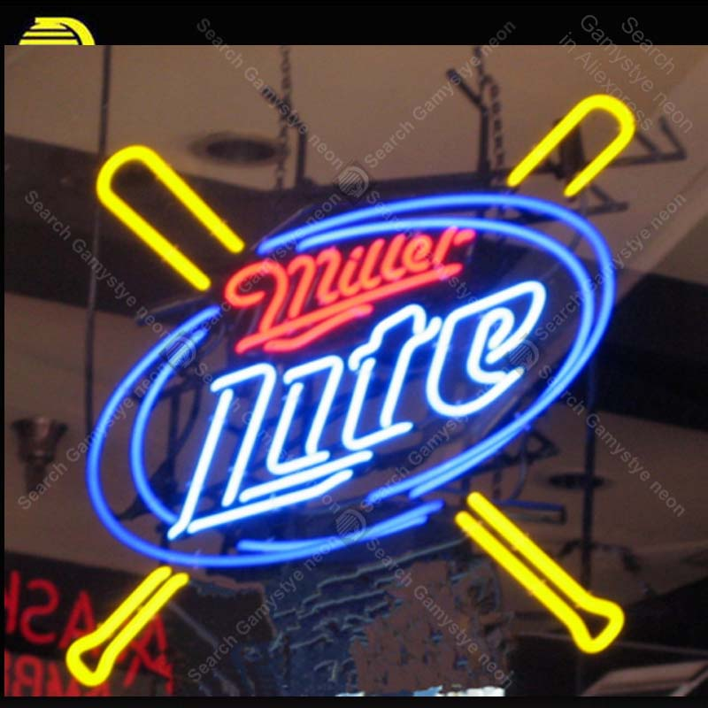 Neon Signs Miller Lite Baseball room Wall Advertising Sign Neon Bar Sign Neon lamps Personalized Night neon lights for sale