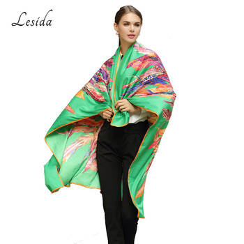 LESIDA 100% Silk Scarf Women Large Shawls Feather Print Stoles Square Bandana Luxury Brand Kerchief Scarf Female Foulard 1306 8