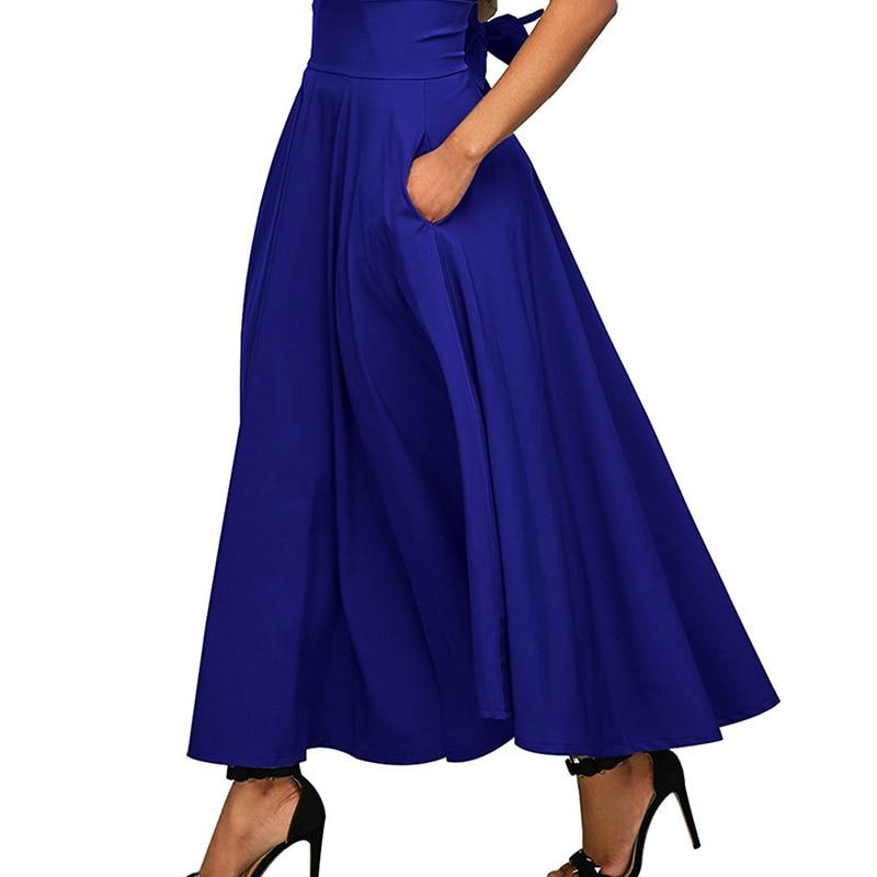 summer skirt Ladies Women vintage High Waist Pleated A Line Long Skirt Front Slit Belted bow Maxi Skirt