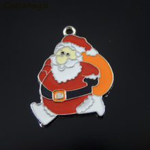 12PCS Wholesale Santa Claus Charm Pendants Necklace Jewelry Making Accessory Christmas Xmas Tree Hanging Deco Gifts Crafts(China)