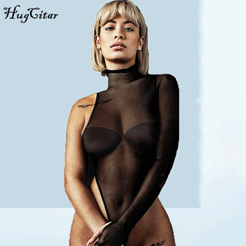 Hugcitar high neck mesh see-through one-shoulder long sleeve sexy bodycon bodysuit 2019 summer women fashion club party body