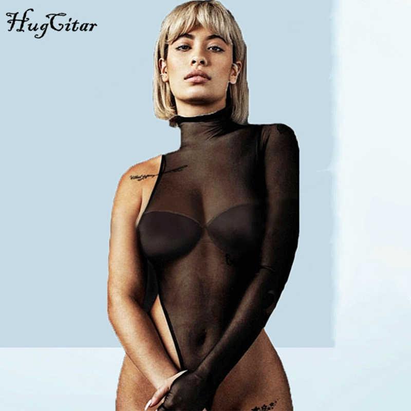 Hugcitar с высоким воротом сетка сеткой прозрачное на одно плечо длинным рукавом лонгслив сексуальные облегающее обтягивающее обтяжку комбидресс бодисьют 2019 летнее лето женское женские женщин мода клубное боди