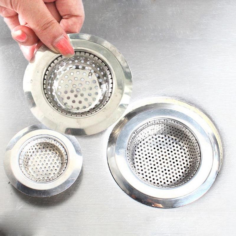 Kitchen Sink Stainless Steel Bathtub Hair Catcher Stopper Shower Drain Hole Filter Trap Sink Kitchen Bathroom Strainer Home Tool