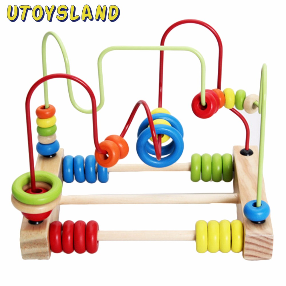 UTOYSLAND Counting Circles Bead Abacus Wire Maze Roller Coaster Wooden Educational Toy for Baby Kids Chilrden wooden bead maze activity center box multi function round beads box cube wood toys unisex kids multipurpose educational toy