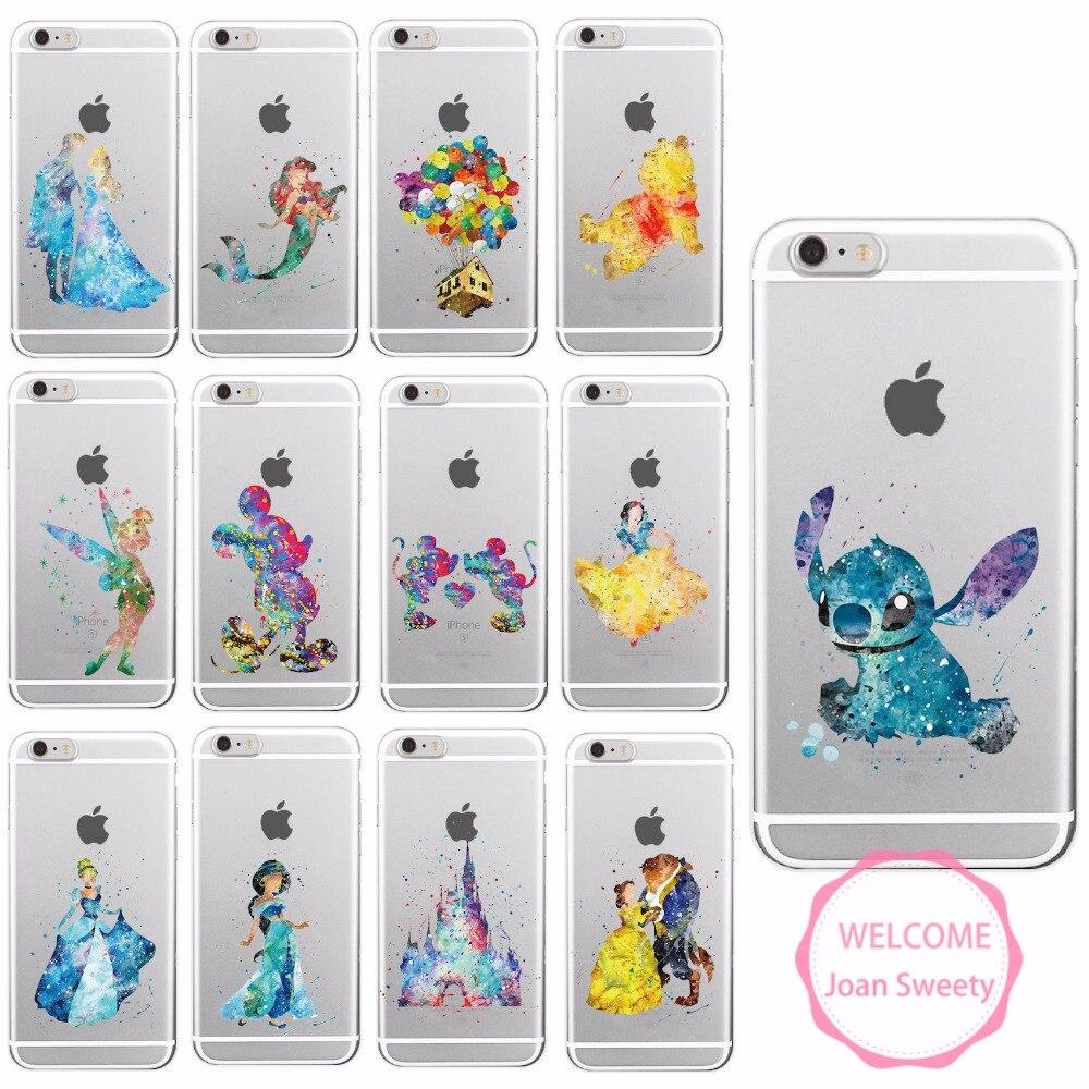 Watercolor Tinkerbell Mickey Minnie Stitch Mermaid Princess Lion King Poof Bear Monsters University Soft 8Plus X