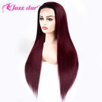 1B/99J Red Ombre Lace Front Human Hair Wig Brazilian Straight Lace Closure Wig Non Remy Hair 4*4 Lace Wigs For Women Jazz Star