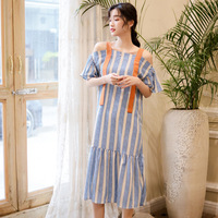 2019 New Summer Women dress A Word Shoulder Little Students Straps Tail On Holiday Dresses Blue 11279