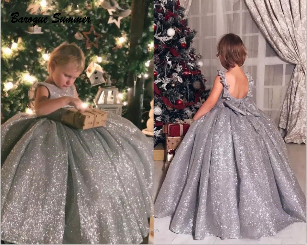 Silver Shiny Material Little Princess Ball Flower Girl
