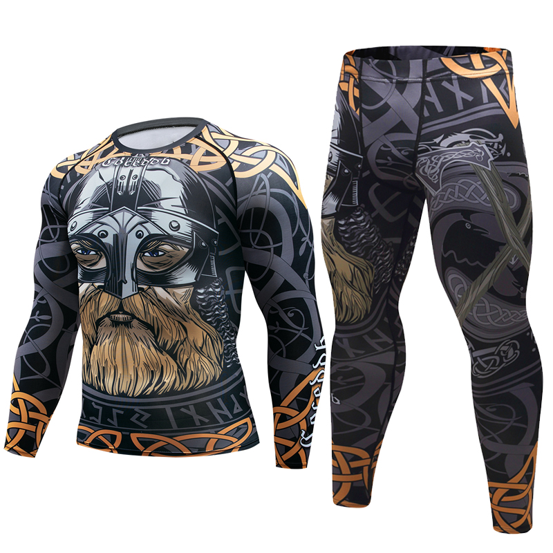 Brand New Men Suit Rashguard Long Sleeve Crossfit Men T Shirt Compression Sportswear Set Men Thermal Fitness Clothing Tracksuit