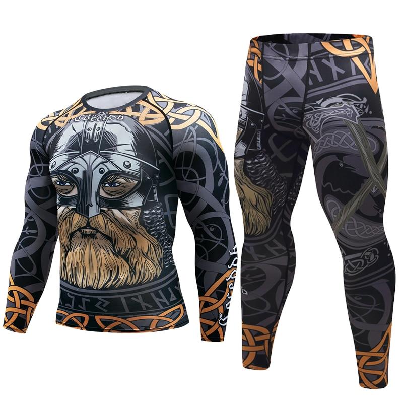 Brand new Men Suit Rashguard Long Sleeve Crossfit Men T Shirt Compression Sportswear Set Men Thermal Fitness Clothing Tracksuit