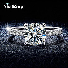 White Gold Plated Ring wedding Rings For Women anillos de compromiso AAA CZ Diamond Jewelry luxury bague Wholesale ring  VSR094
