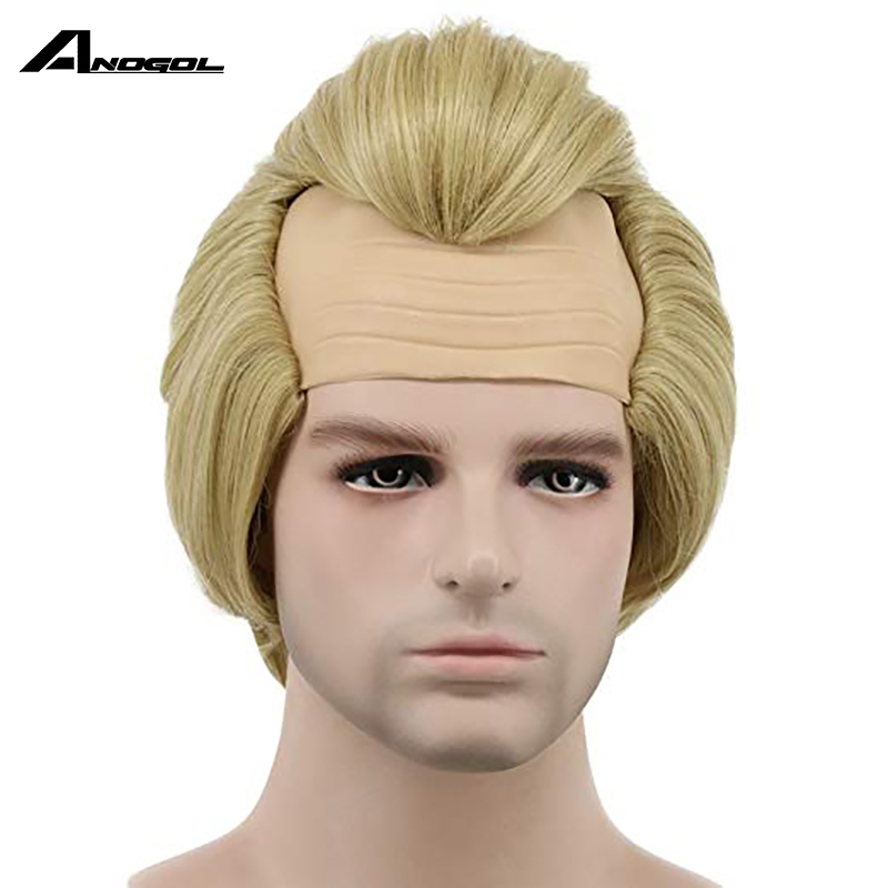 Anogol The Incredibles Bob Parr Short Straight Men Bald Blonde Cosplay Wigs Halloween Wig Anime Costume Party Role Play