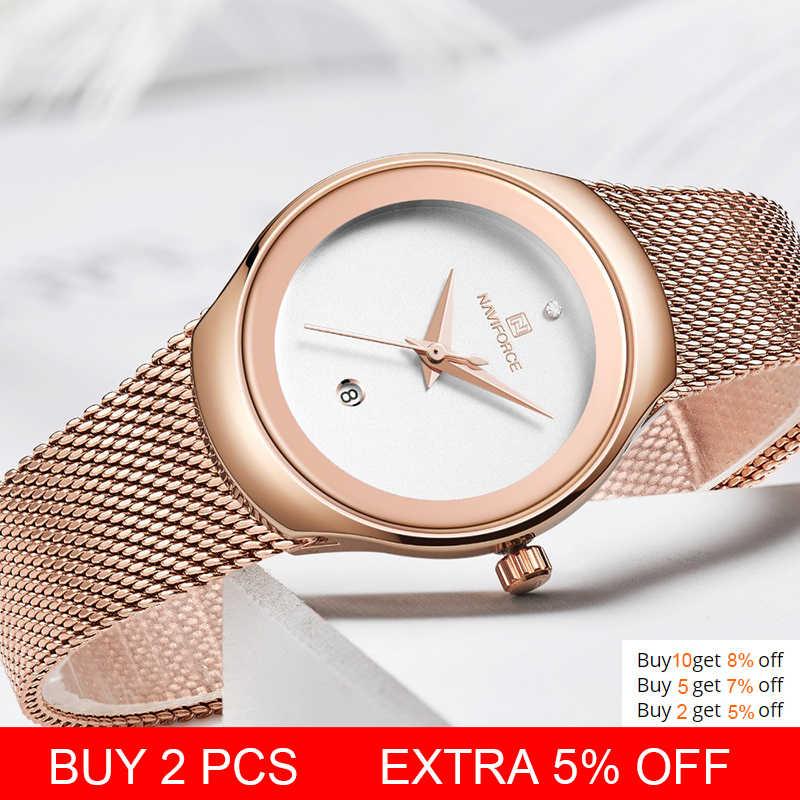 NAVIFORCE женские часы модные наручные часы для девочек Роскошные Кварцевые часы для женщин из нержавеющей стали сетки браслет часы Bayan Kol Saati