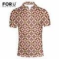 FORUDESIGNS 2017 Summer Fashion Mens Polo Shirt Short Sleeve Geometric Pattern Slim Shirt for Men Polo Shirts Camisa Masculina