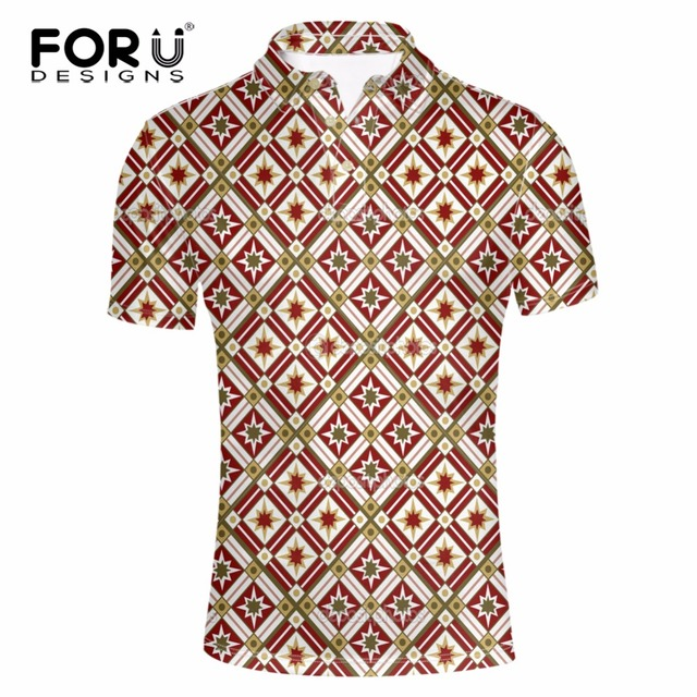 a3d6afb77d4a FORUDESIGNS 2017 Summer Fashion Mens Polo Shirt Short Sleeve Geometric  Pattern Slim Shirt for Men Polo Shirts Camisa Masculina