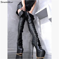 2018 Sexy Super 16cm High Heels Thigh High Boots Women Lady High Platform Round Toe Motorcycle Boots Lace Up Over the knee Shoes