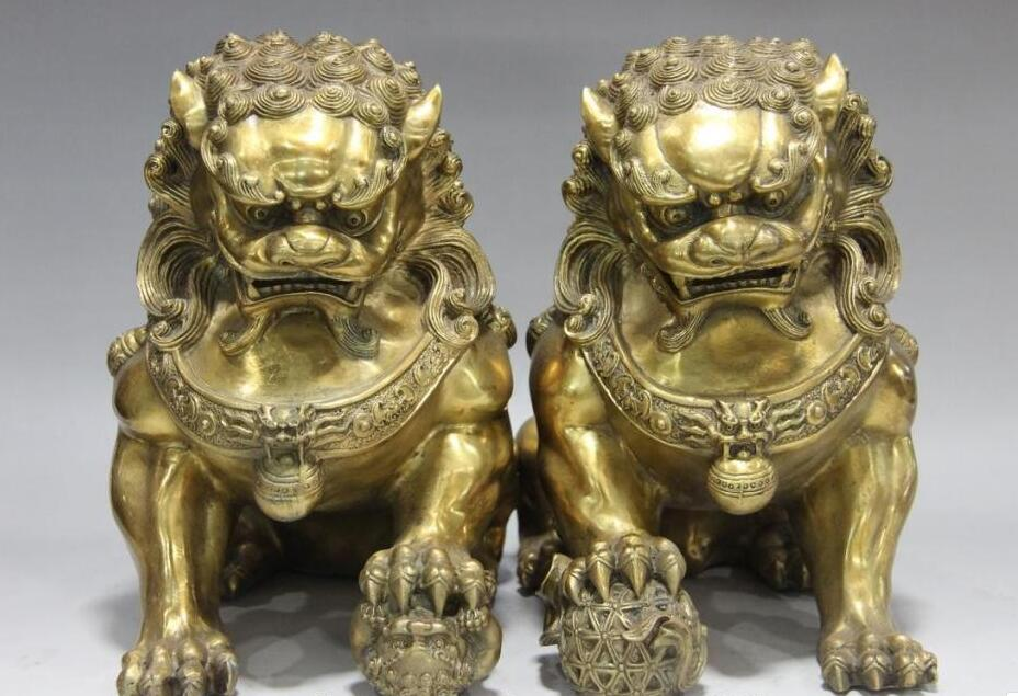 Chinese Royal Feng Shui Copper Brass Evil Door Guardian Fu