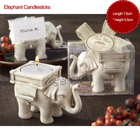 New 50pcs/set Wedding Gift Elephant Candlesticks Home /Restaurant Decorations Resin Creative Candle Holder Tea Light Candlestick