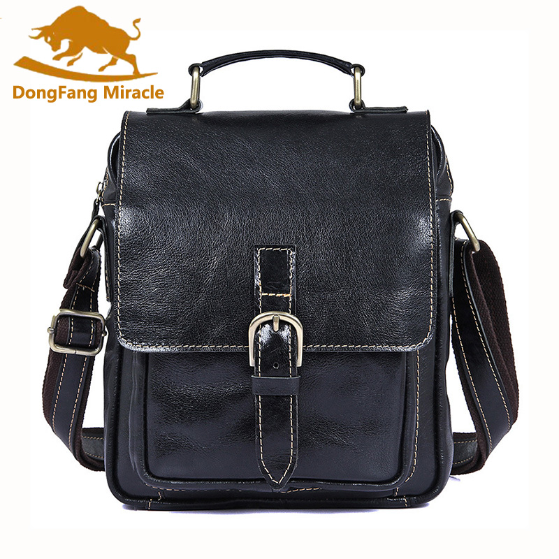 купить Hot Sale Vintage Casual 100% Genuine Leather Portable Men Messenger Bags Shoulder Bags Small Casual crossbody Handbags Tote man онлайн