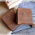Vintage Men Crazy Horse Genuine Leather Wallet Zipper Short Card Holder Organizer Coin Purse Small Carteira Masculina 1020-1