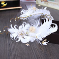 Girl Garland Headpiece Feather White Floral Bride Headband Wedding Party Festival Decorations travel photography props 89384