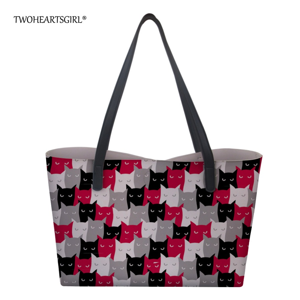 c6807d1987a2 Twoheartsgirl милым цветочным принтом кота сумка большая сумка из  искусственной кожи Сумки для Для женщин дизайнерская
