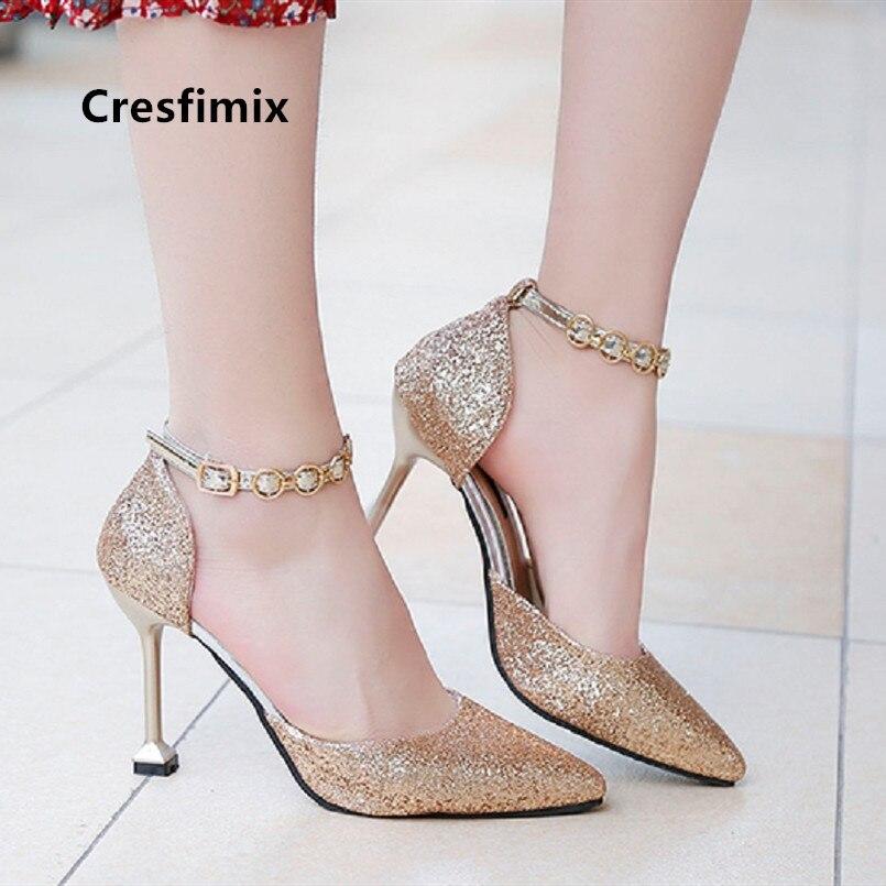 Cresfimix bombas de mujeres mulheres moda doce primavera & verão de prata de ouro sapatos de salto alto senhora casual bombas de salto alto a5226b