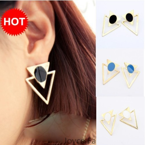 Min order $10,Designer Jewelry,Punk Exaggerated Gold Plated Double Triangle Stud Earrings,Vintage Accessories For Women,E47