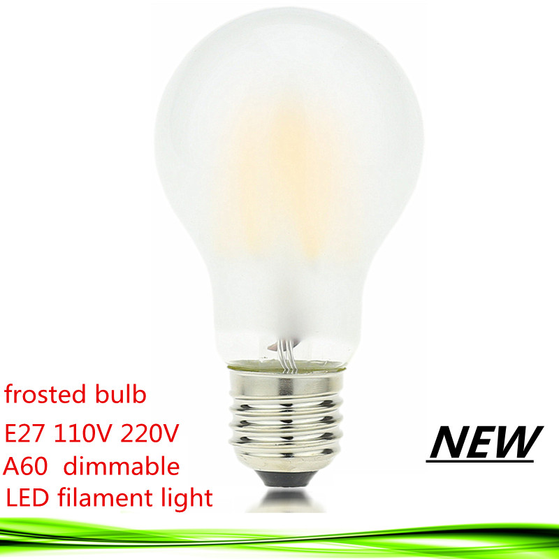 1X NEW LED Filament Light LED Bulb E27 E26 dimmable frosted glass 2W 4W 6W 8W 110V 220V A60 vintage edison lamp warm/pure white high brightness 1pcs led edison bulb indoor led light clear glass ac220 230v e27 2w 4w 6w 8w led filament bulb white warm white