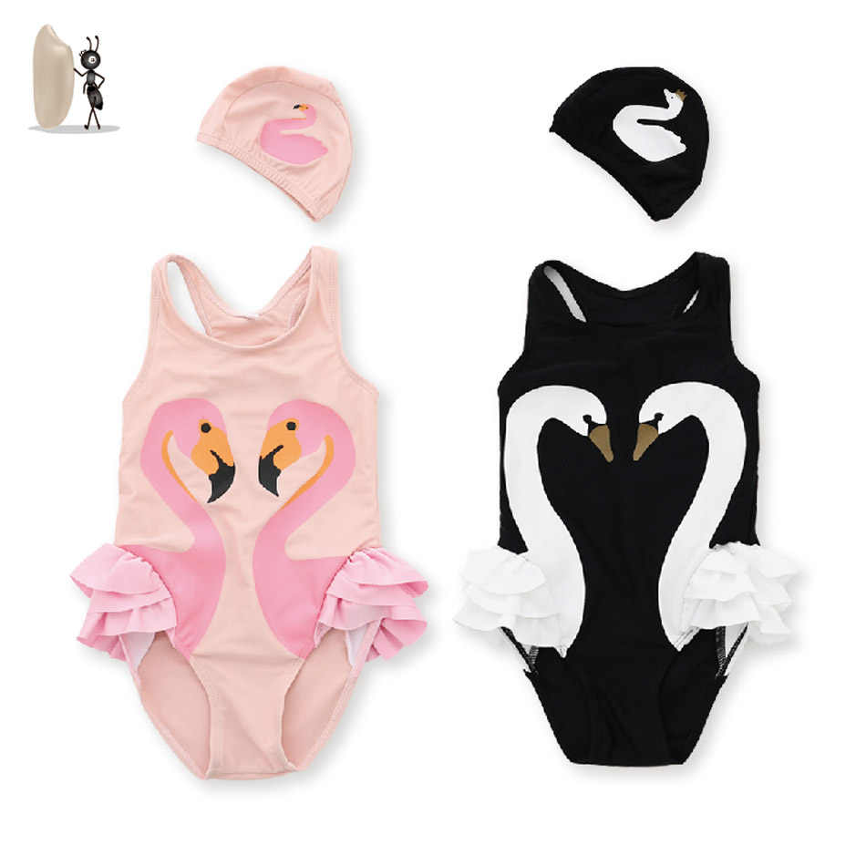 Flamingo Baby Swimsuit Girl Swimwear With Cap One Piece Swimsuit For Children Bathing Suit Girls Swimming Clothes Baby Swimwear