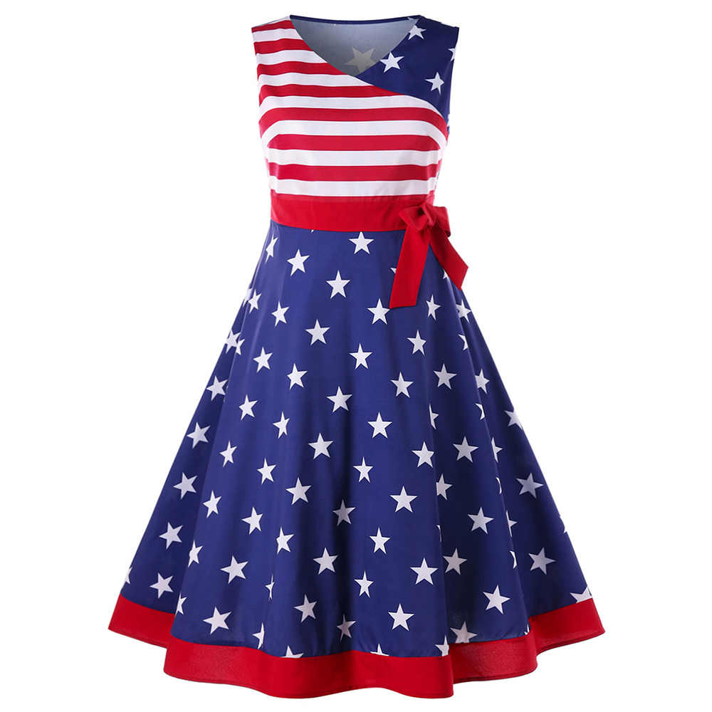 cf62de39e9a Wipalo Women Summer Plus Size 5XL USA American Flag Vintage Sleeveless Tank  Dress 2018 A Line