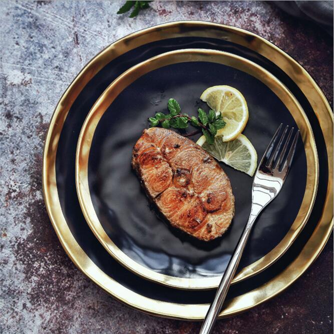 8inch/10inch Dinner food <font><b>plate</b></font> gold inlay round dishes luxury <font><b>plates</b></font> handwork tray food dish dinnerware kitchen rice <font><b>plate</b></font> black