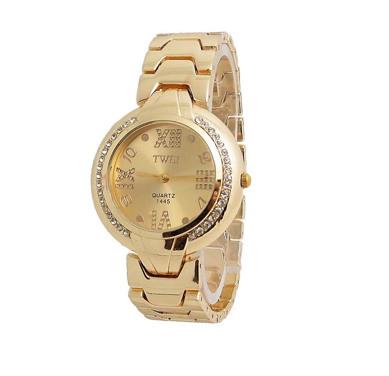 Luxury Gold Plated Bracelet Watch Women Ladies Round Crystal Dress Quartz Wristwatches Relogio Feminino TW047 baosaili brand luxury crystal gold watches women ladies quartz wristwatches bracelet relogio feminino relojes mujer bs001
